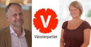 Syntolkning: Foto på Jonas Sjöstedt och Ulla Andersson med Vänsterpartiets logga i mitten.