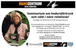 Seminarium om hedersförtryck och våld i nära relationer